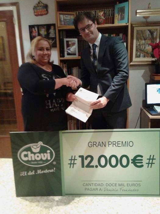 ganador premio 12000 euros de chovi