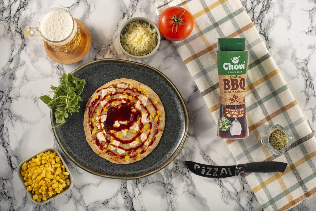 pizza pollo y maiz con bbq
